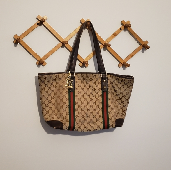 GUCCI Authentic Sherry GG Web Monogram Tote Bag